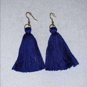 royal blue/gold tassel statement earrings